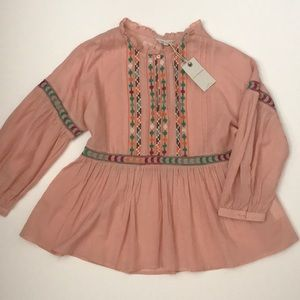 NWT lucky brand embroidered blouse size S